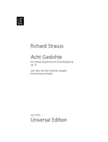 Strauss 8 Gedichte Op 10 Mittel Op 10 Trv 141